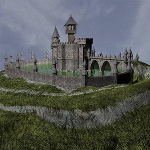 maya fantasy medieval castle wall
