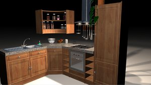 kitchen scene 3d obj