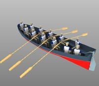 3d model rowing boat