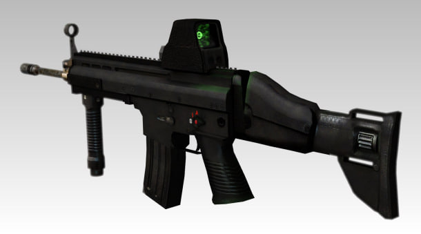 free assault rifle holographic sight 3d model