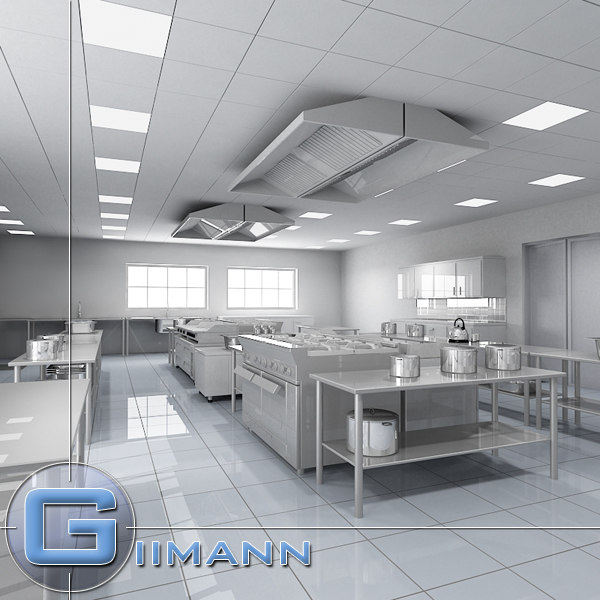 commercial kitchen 3d obj