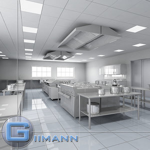 commercial kitchen 3d obj