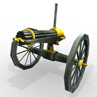 civil war gatling gun 3d model