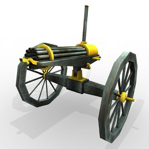 civil war gatling gun 3d model