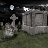 3d grave stones cross model