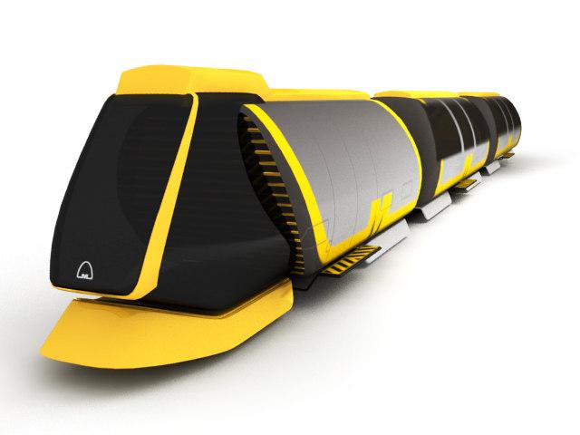 futuristic metro train 3d max