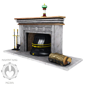 3d model of family fireplace mantle