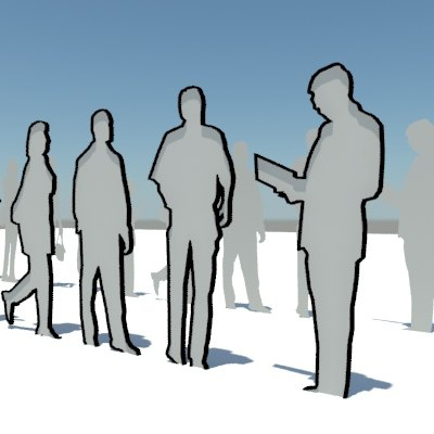 3d model people populate conceptual