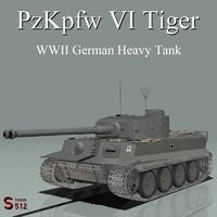 3d model pzkpfw tiger tank