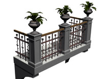 3d model of iron balcony