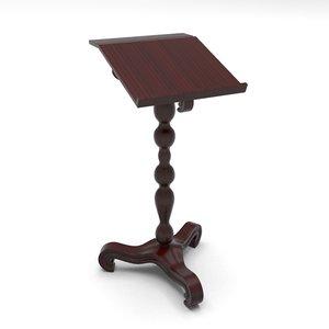 3d wooden bookstand base model