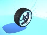 5 spoke alloy wheel 3d model