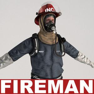 fireman v2 t-pose 3ds