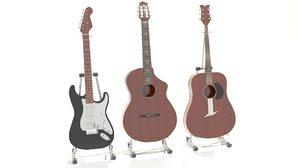 3d model set guitar