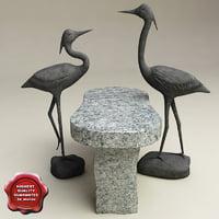 3d heron statues model
