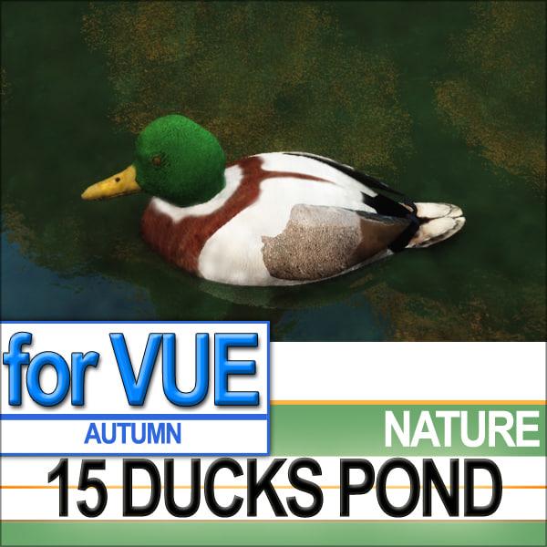 3d scene 15 ducks pond