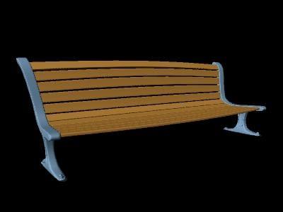 3d model of cartoon park bench