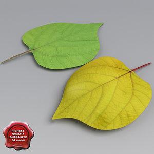 poplar leaves summer autumn 3d model