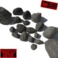 3d lot rocks stones - model