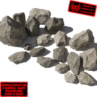 Rocks - Stones 3 Jagged RS05 - Tan or Grey 3D rocks or stones