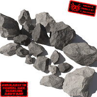 Rocks - Stones 6 Jagged RS31 - Gray 3D rocks or stones
