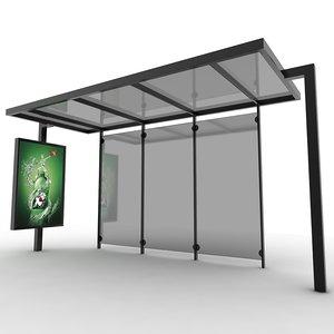 urban bus station shelters 3d model