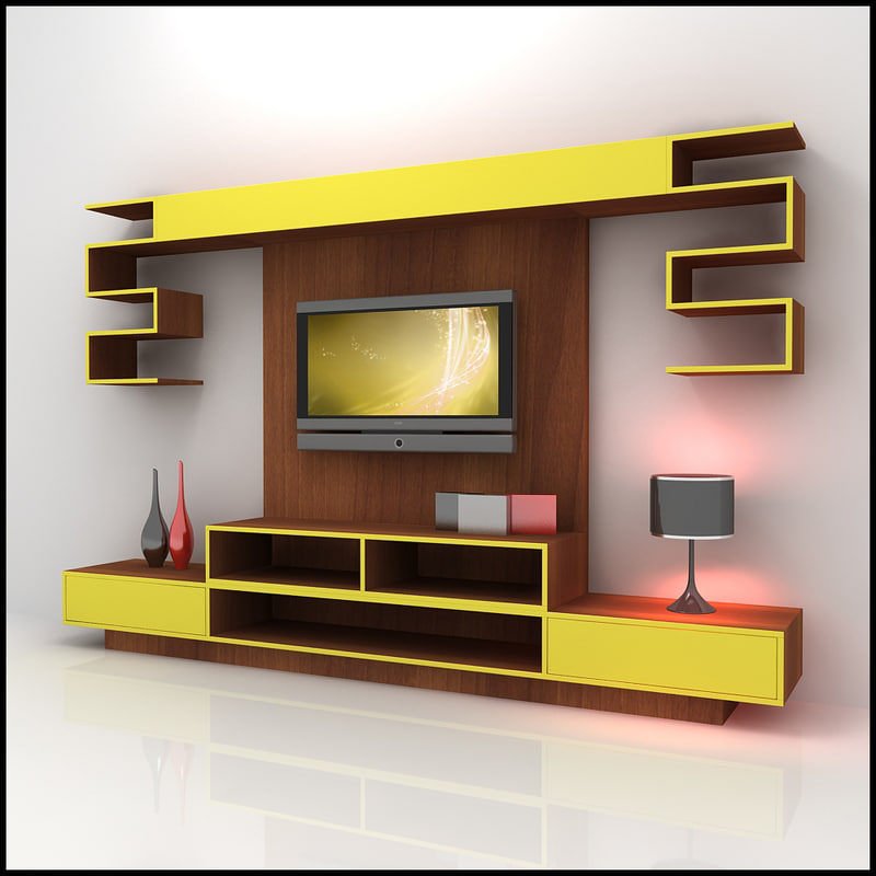 3ds Max Modern Tv Wall Unit: show home furniture hours