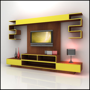 3ds max modern tv wall unit