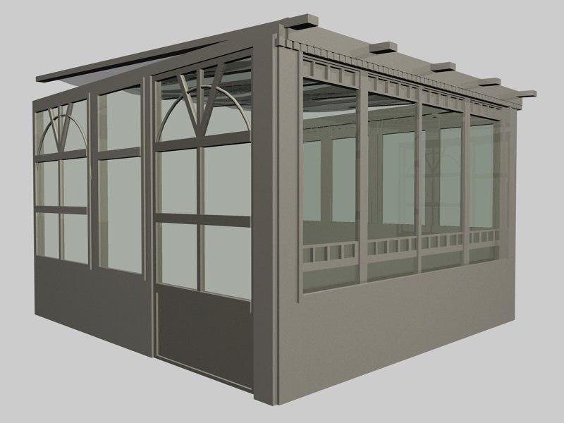3d model garden winter greenhouse