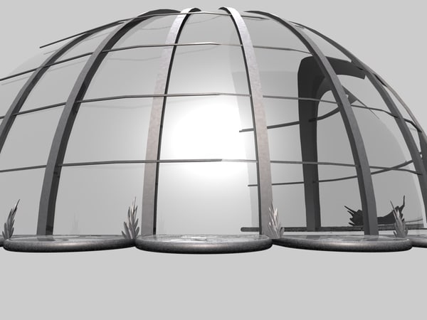 3d covering entrance glass model