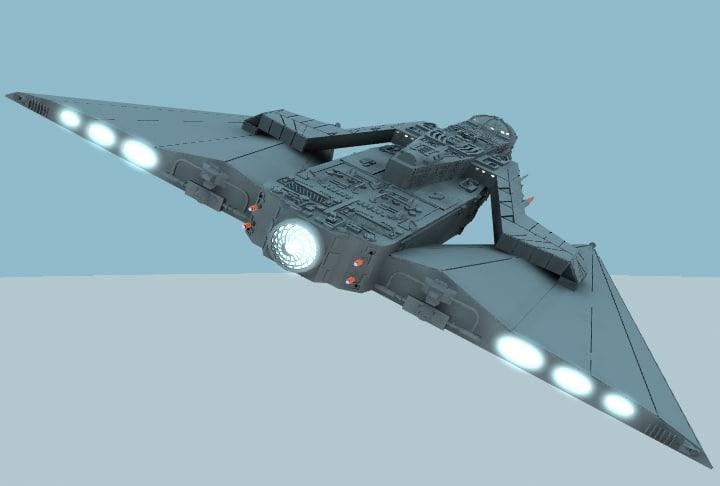 batwingcruiser unknown space 3d lwo