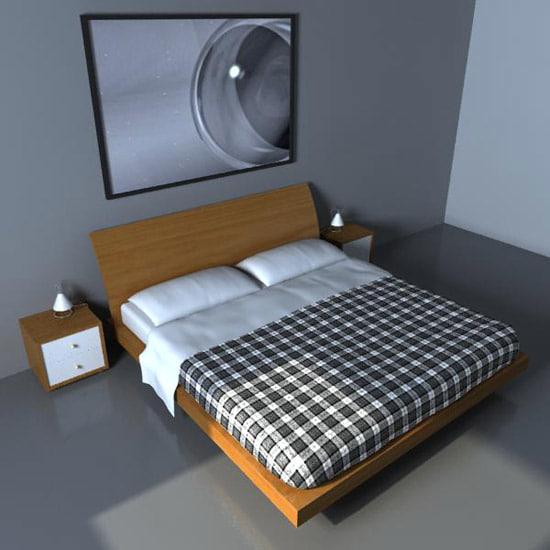 3d bed bedside pillows