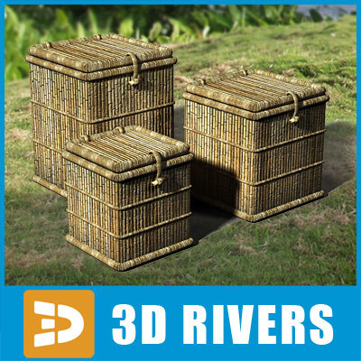 cane boxes container 3d model