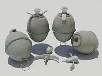 3d model german egg grenade
