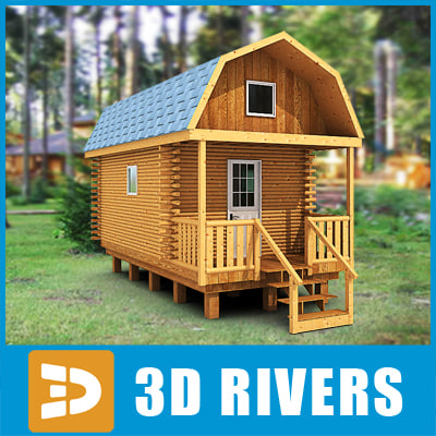 3ds max log cabin home building
