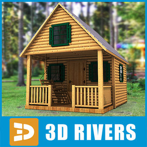 3d log cabin home building