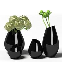 Milano black cased  modern glass vase rose acessories