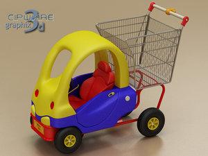 shopping cart car 3d model