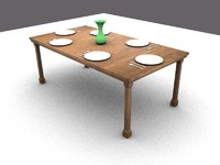 wooden table 3d blend