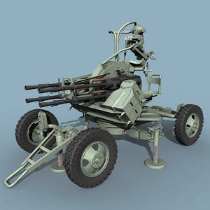 3d model soviet zpu-4