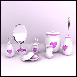 3d modern bathroom accessories model