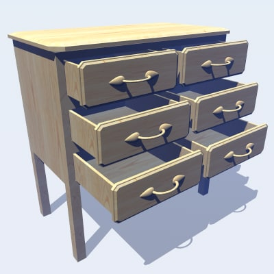 3ds max pine chest draws :