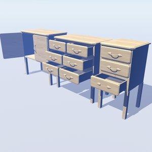 pine draws cupboard 2 3d model