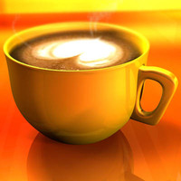 Cappuccino cup with animated particles smoke
