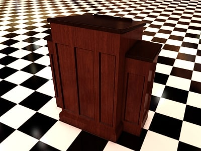 3d model church pedestal 2 wood materials