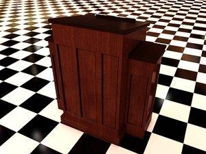 3d model church pedestal 2 wood materials