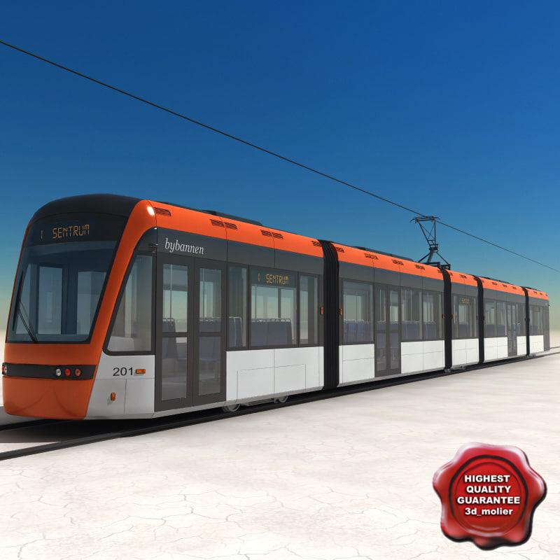 low-floor light rail vehicle 3d model