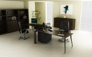 3d office interior 01a model