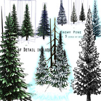 Pine & Snow Pine Tree Pack