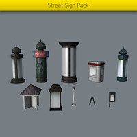 3d model props pack street signs